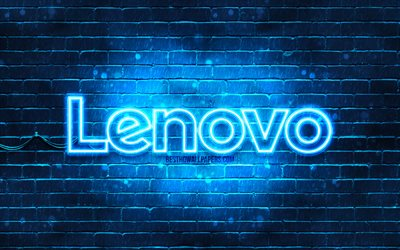 Lenovo mavi logo, 4k, mavi, brickwall, Legend logosu, marka ve Legend, neon logo, Legend
