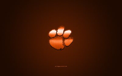 Clemson Tigers logo, American football club, NCAA, orange logo, orange carbon fiber background, American football, Clemson, South Carolina, USA, Clemson Tigers, Clemson University