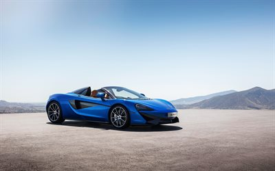 McLaren 570S Spider, 2018, Sports cars, blue 570S, supercar, McLaren