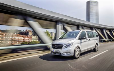 Mercedes-Benz Vito, 2017 cars, W447, 4k, movement, vans, german cars, Mercedes V-Class