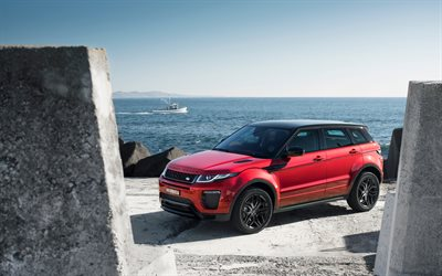Land Rover, Range Rover Evoque, SUV, red Evoque, English cars