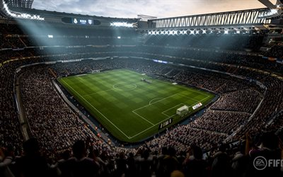 4k, FIFA 18, stadium, 2017 games, football simulator