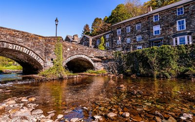 Gwynedd, stone bridge, old city, Wales, United Kingdom