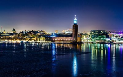 winter, stockholm, night, sweden