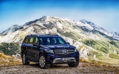 amg, mercedes gls-class, large suv, mercedes, x166, 2016, mountains, blue mercedes
