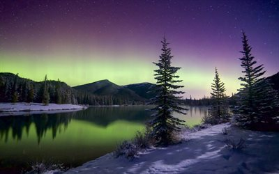 winter, northern lights, snow, night, lake, mountains
