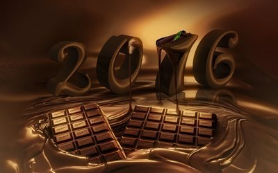 2016, new year, chocolate letters, chocolate
