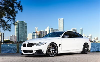 white bmw, tuning, bmw 4, sports cars, 435i, m-sport, wheels