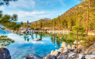 mountains, usa, lake, forest, blue lake, tree, lake tahoe