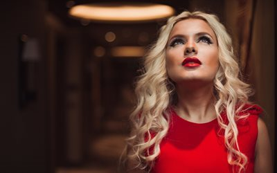 look, blonde, red dress, makeup, girl