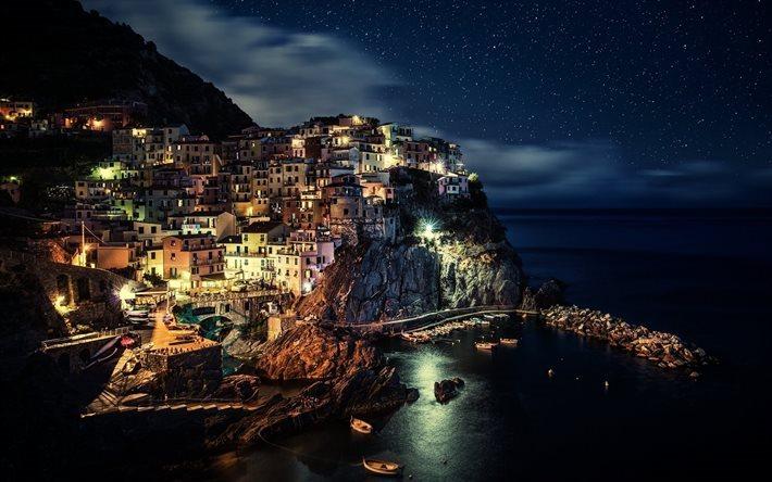 Scarica Sfondi Cinque Terre Italia Costa Città Mare Notte