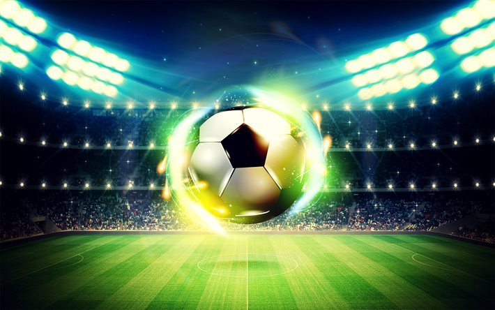football, stadium, tribune, soccer ball