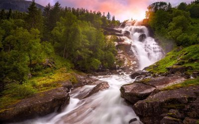 forest, stones, waterfall, stream, morning, mountain river, norway