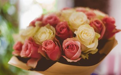 rose, yellow roses, pink roses, a bouquet of roses, bouquet free, roses