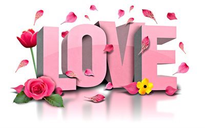 flowers, love, word love