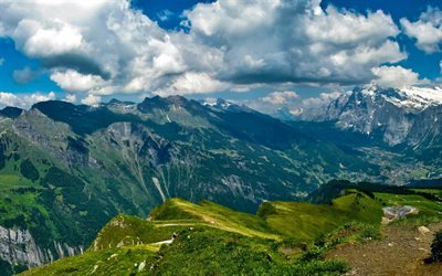 bern, mountains, lauterbrunnen, summer, switzerland