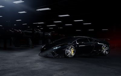 lamborghini huracan, black lamborghini, lp610-4, sports cars, coupe