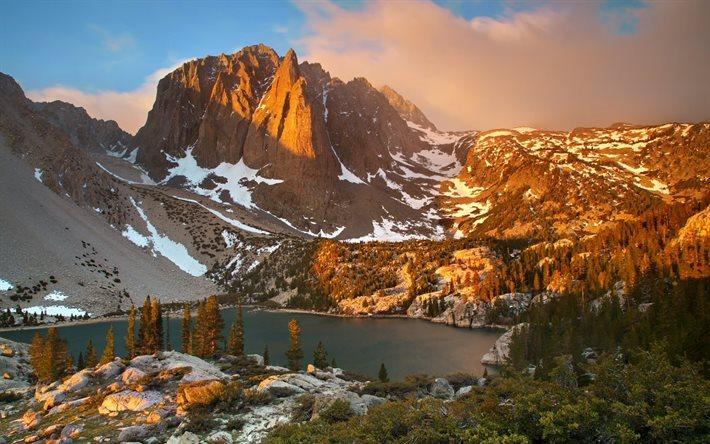 Download Wallpapers Sky Dawn Sierra Nevada Mountain Lake