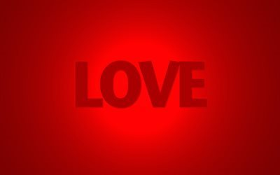 red background, love, word