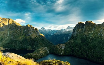 fjords, lake, sky, new zealand, mountains, rocks