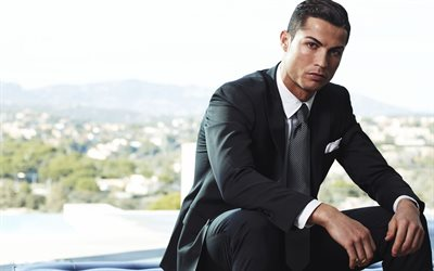 Cristiano Ronaldo, 4k, photoshoot, black suit, soccer star, Juventus, Portuguese footballer, Serie A, Italy, football, Portugal