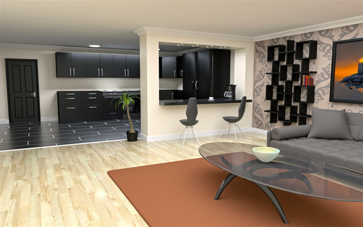 stylish design of the living room, hallway, modern interior design