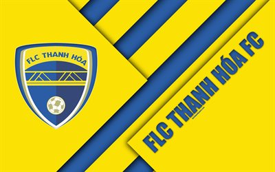 FLC Thanh Hoa FC, 4k, material design, logo, yellow blue abstraction, Vietnamese football club, V-League 1, Thanh Hoa, Vietnam, football
