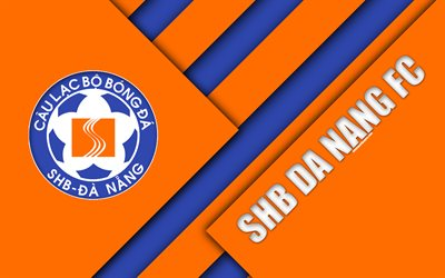 SHB Da Nang FC, 4k, material design, logo, orange blue abstraction, Vietnamese football club, V-League 1, Danang, Vietnam, football