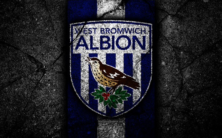 Download Wallpapers 4k, West Bromwich Albion FC, Logo, EFL