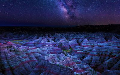 Badlands National Park, 4k, nightscapes, starry sky, milky way, cliffs, Dakota, american landmarks, USA, America
