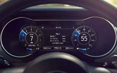 Ford Mustang, 2018, dashboard, modern technology, Mustang speedometer, tachometer