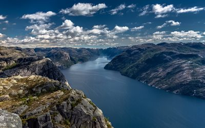 Norway, mountains, Lysefjord, cliffs, Preikestolen