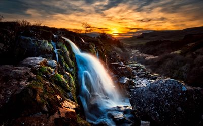 Scotland, waterfalls, river, sunset, HDR, UK