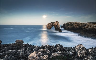 Bay of Biscay, cliff arch, coast, Atlantic Ocean, cliffs, Spain, Asturias, Villahormes