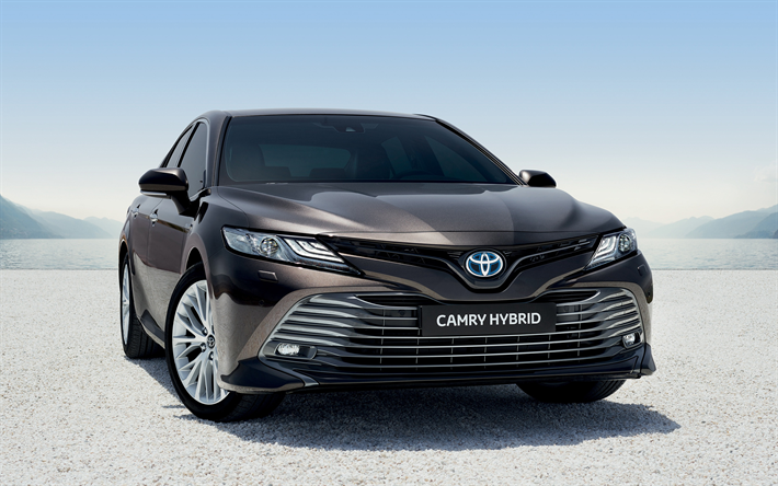 Download wallpapers Toyota Camry Hybrid, 2019, front view ...