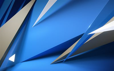 creative, blue background, 3d art, geometric shapes, abstract art, geometry