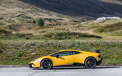 lamborghini huracan, performante, 2018, side view, yellow supercar, sports coupe, tuning huracan, black wheels, yellow huracan, Italian sports cars, lamborghini