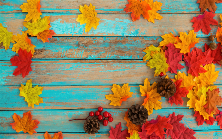 autumn yellow leaves, blue boards, wooden background, autumn concepts, red leaves