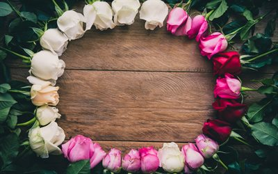 frame of roses, beautiful flowers, wooden background, flower frame, roses