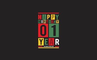 Happy 1 Year Birthday, Birthday Flat Background, 1st Happy Birthday, Creative Flat Art, 1 Year Birthday, Happy 1st Birthday, Colorful Abstraction, Happy Birthday Background