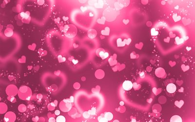 pink glare hearts, 4k, pink glitter background, creative, love concepts, abstract hearts, pink hearts