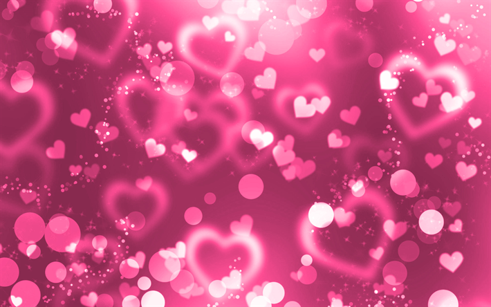 thumb2 pink glare hearts 4k pink glitter background creative love concepts