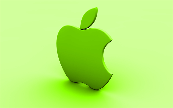 Download wallpapers Apple 3D logo, lime background, creative