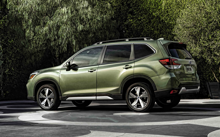 2020, Subaru Forester, SUV, green crossover, rear view, exterior, new green Forester, japanese cars, Subaru