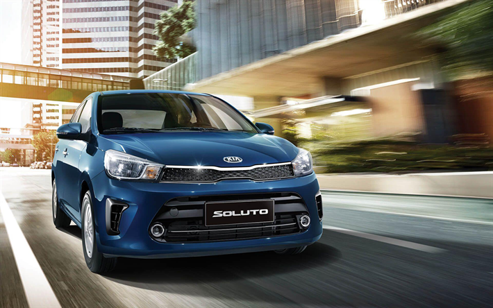 Download Wallpapers Kia Soluto Street 2019 Cars Compact Cars
