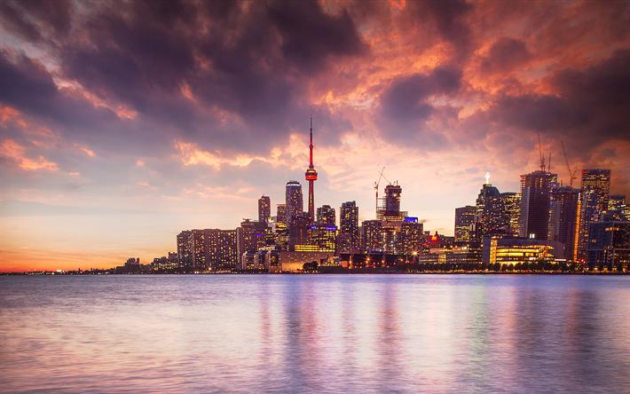 Download Wallpapers 4k Toronto Sunset Canadian Cities