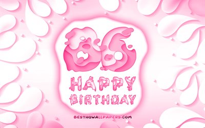 Happy 86 Years Birthday, 4k, 3D petals frame, Birthday Party, purple background, Happy 86th birthday, 3D letters, 86th Birthday Party, Birthday concept, 86th Happy Birthday, artwork, 86th Birthday