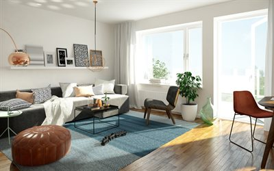 modern stylish interior, living room, leather round brown armchairs, stylish interior design