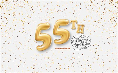 55th Anniversary, 3d balloons letters, Anniversary background with balloons, 55 Years Anniversary, Happy 55th Anniversary, white background, Anniversary, greeting card, Happy 55 Years Anniversary