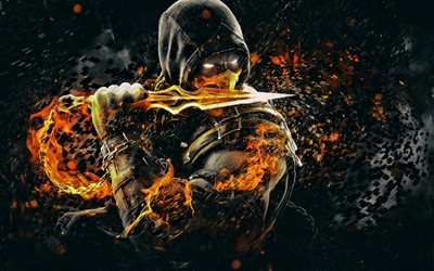 Scorpion, fire, 2019 games, Mortal Kombat X, ninja, fighting game, darkness, Mortal Kombat